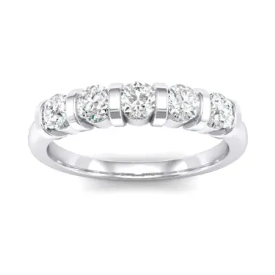 Diamonds in a Five Stone Ring in Platinum